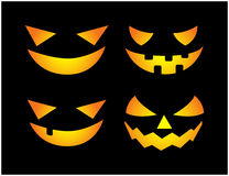 Halloween scary pumpkin face vector illustration set, Jack O Lantern smile isolated on black background. Scary orange picture with Royalty Free Stock Photo