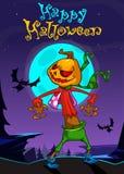 Halloween scary pumpkin head scarecrow,vector postcard  Royalty Free Stock Photo