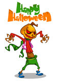 Halloween scary pumpkin head scarecrow,vector postcard for Halloween Stock Photography
