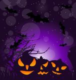 Halloween scary pumpkins, outdoor background Royalty Free Stock Photography