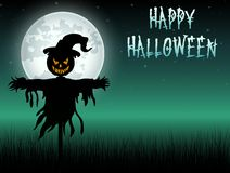 Halloween scary scarecrow at night background Stock Photography