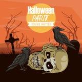 Halloween scary cartoons. Halloween scary scenery cartoons with full moon vector illustration graphic design vector illustration