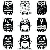 Halloween scary, spooky, mummy, cyclops, vampire. Monster, zombie owls Royalty Free Stock Photo