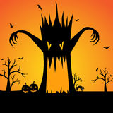 Halloween scary tree silhouette background Royalty Free Stock Image