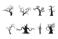 Halloween scary trees. Illustration of 8 scary trees Stock Photography