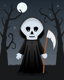 Halloween Scary Trees with Grim Reaper Stock Images