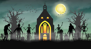 Halloween scary zombie in graveyard with church. A halloween scary zombie in graveyard with church Stock Images