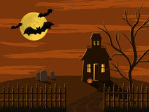 Halloween scene. Spooky Halloween scene of house in fenced yard with graveyard and tree. Everything is lit up by the moon as three bats fly past royalty free illustration