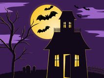 Halloween scene. Of spooky house in fenced yard with graveyard and tree. lit up by the moon with bats flying past vector illustration