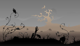 Halloween scene. Creepy halloween scene with rats and birds stock illustration