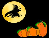 Halloween Scene. Flying witch against a golden moon sailing over a pumpkin field Stock Photo