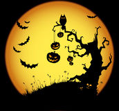 Halloween scene. Scary halloween background with moon and old tree