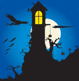 Halloween Scene. Vector illustration of a Halloween night with Gothic tower and bats all around it Stock Image