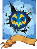 Halloween scene and banner. Illustration of spooky building and witch on Halloween pumpkin in sky, blank banner at bottom Stock Photos