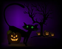 Halloween scene with black cat, pumpkins and tree. Vector Stock Photos