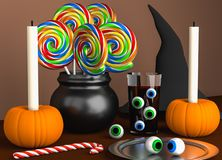Halloween decoration on the brown table Royalty Free Stock Images