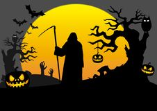 Halloween scene with death royalty free illustration