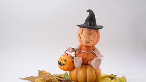 Halloween scene. Halloween pumpkin, trick or treat stock video footage