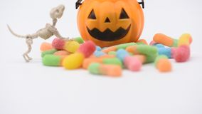 Halloween scene. Halloween pumpkin, trick or treat with sweet candy stock video footage