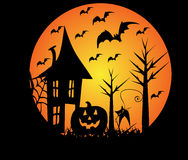Halloween scene. Illustration with a creepy halloween scene Royalty Free Stock Photo