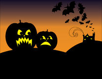 Halloween Scene With Jackolanterns Stock Photography