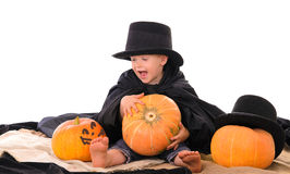 Halloween scene with little boy Stock Photo