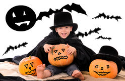 Halloween scene with little boy Stock Image