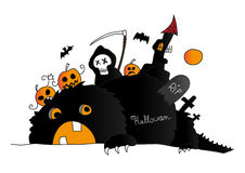 Halloween scene with monster, death and pumpkins. Halloween scene with death and pumpkins wich are abve the creepy hairy monster royalty free illustration