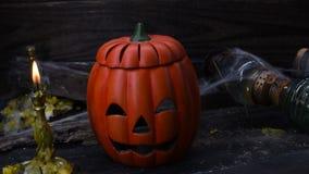 Halloween scene. Halloween pumpkin, trick or treat scene stock video