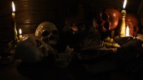 Halloween scene. Halloween pumpkin, trick or treat scene stock footage