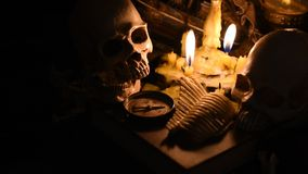 Halloween scene. Halloween pumpkin, trick or treat scene stock video footage
