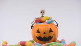 Halloween scene. Halloween pumpkin, trick or treat with sweet candy stock video