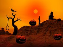 Halloween scene by sunset Royalty Free Stock Photos