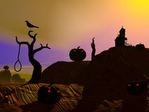 Halloween scene by sunset Stock Image