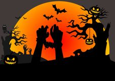 Halloween scene with tied zombies hands stock illustration