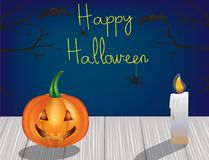 Halloween scene, vector. Halloween scene with pumpkin and candle on wooden background, vector Royalty Free Stock Photo