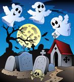 Halloween scenery with cemetery 2 Royalty Free Stock Photography
