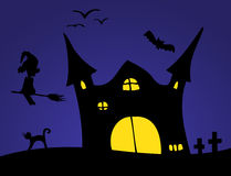 Halloween Scenery. Dark Halloween scenery - night and sillhouettes Royalty Free Stock Photos