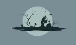 Halloween scenery with tombstones Stock Photos
