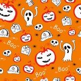 Halloween-Schädelhintergrundmuster im Vektor Stockfotografie