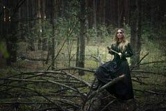 Halloween Schönes Mädchen in einem schwarzen Kleid im Wald lizenzfreie stockfotos