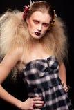 Halloween-Schönheitsfrauenmake-up Stockbild