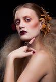 Halloween-Schönheitsfrauenmake-up Stockbilder