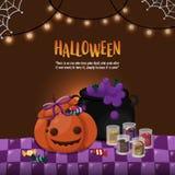 Halloween-Schablone Kürbis und giftiger Topf auf dem Tisch mit Halloween-Thema Lizenzfreies Stockbild