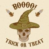 Halloween-Schedel in hoed Stock Foto's