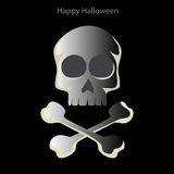 Halloween-schedel op een zwarte achtergrond Royalty-vrije Stock Foto