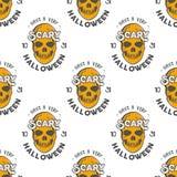Halloween-schedels naadloos patroon met de typografie van de vakantiewens Eng Halloween-behang geïsoleerde voorraadvector royalty-vrije illustratie