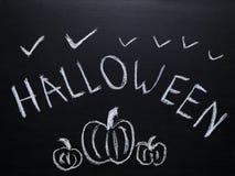 Halloween-schets op bord wordt getrokken dat royalty-vrije stock afbeelding