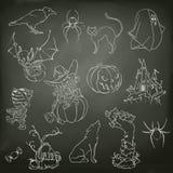 Halloween-schetsen van pictogrammen Stock Foto