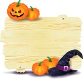 Halloween-Schild mit Kürbisen und dem Hut der Hexe Lizenzfreie Stockbilder